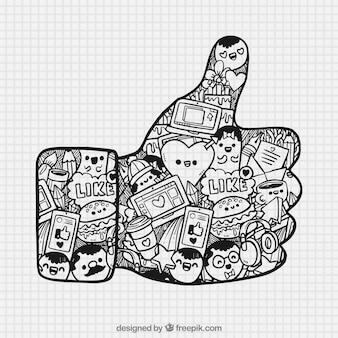 Grande polegar acima com elementos desenhados à mão