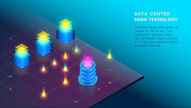 Grande processamento de dados isométrico, armazenamento, conceito de sala de servidor