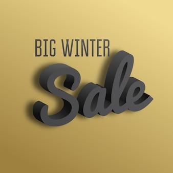 Grande promoção de inverno. o texto 3d em fundo dourado.