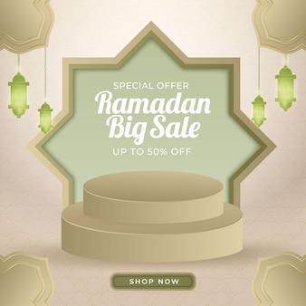 Grande promoção de luxo realista ramadan kareem com modelo de banner de pódio