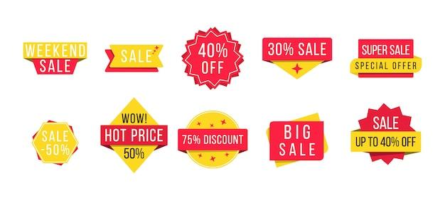 Grande promoção, nova oferta e melhor preço, desconto em banners promocionais de eventos. conjunto de crachás promocionais e tags de venda, modernos para site e publicidade. ilustração, .