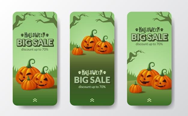 Grande promoção oferta promoção dia de halloween truque ou travessura cartaz banner histórias de mídia social com jack of lantern 3d laranja monstro de abóbora com cena de paisagem verde