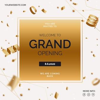 Grande re-abertura banner com confete dourado