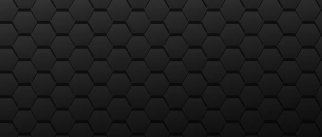 Grande rendilhado de hexágonos formação técnica superfície preta geométrica