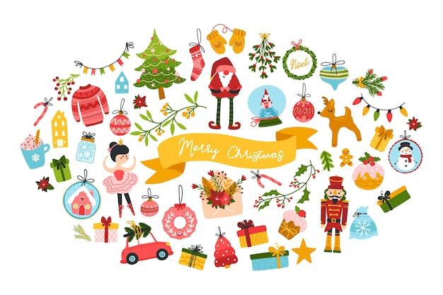 Grande saudação de natal com personagens fofinhos e elementos festivos em forma oval. estilo escandinavo desenhado à mão infantil com letras.