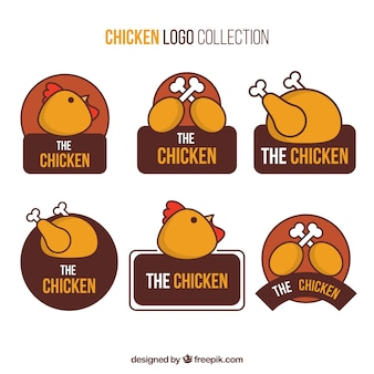Grande seleção de logotipos de frango desenhados à mão