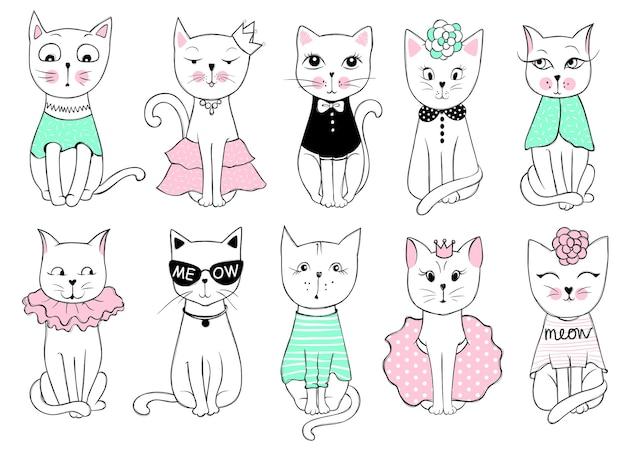 Grande série de vetores com gatos bonitos da moda. conjunto de gatinho elegante. ilustração moderna na impressão de t-shirt de estilo de esboço, cartões, pôster. doodle kitty. animais para crianças. personagem engraçada.