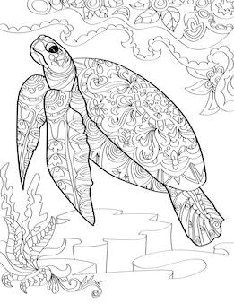 Grande tartaruga marinha abaixo do oceano nadando em linha ascendente e incolor desenhando uma enorme tartaruga aquática