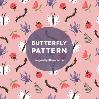 Grande teste padrão com borboletas e outros insetos