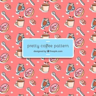 Grande teste padrão com copos de café e donuts