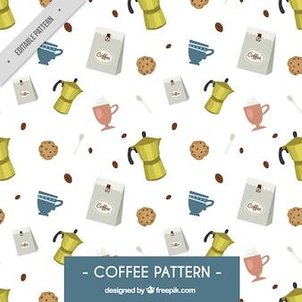 Grande teste padrão com máquinas de café e biscoitos