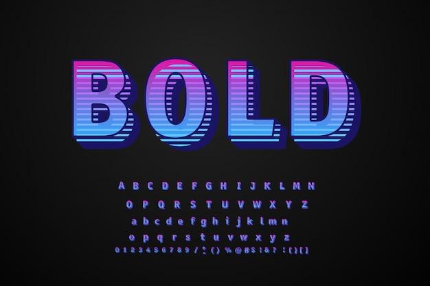 Grande tipo de letra tipografia em negrito 3d