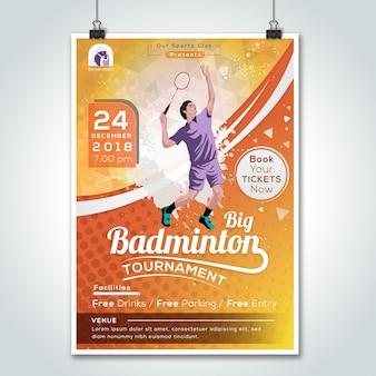 Grande torneio anual de jogo de badminton