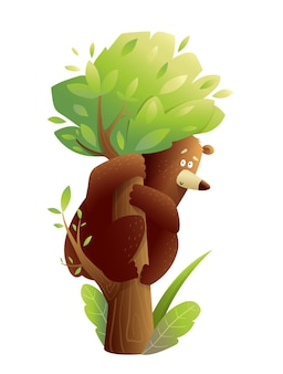 Grande urso pardo escalando tronco de árvore com medo ou se divertindo com desenho vetorial em estilo aquarela para crianças