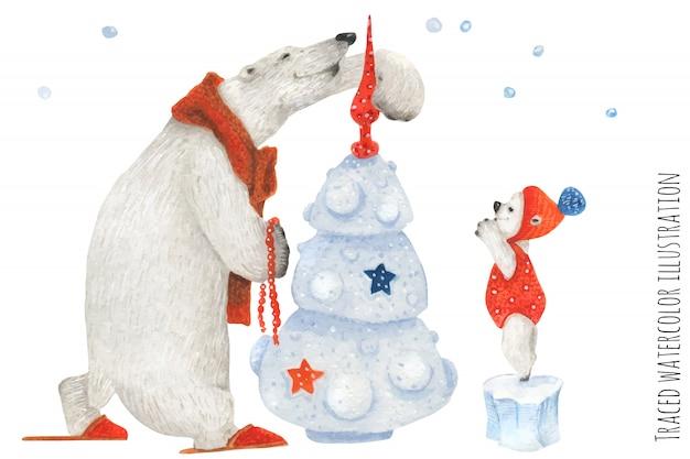 Grande urso polar e ursinho de pelúcia decoram a árvore de ano novo