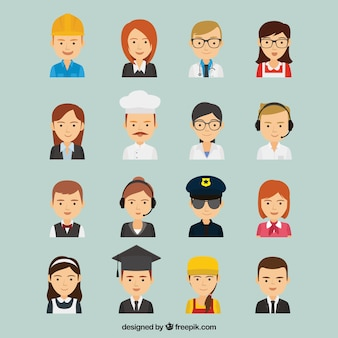 Grande variedade de avatares de trabalhadores