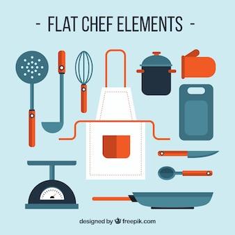 Grande variedade de elementos de cozinha plana com detalhes vermelhos