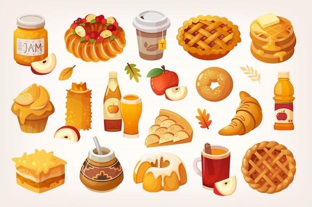 Grande variedade de ícones de maçãs e diferentes tipos de alimentos cozidos