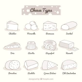 Grande variedade de tipos deferentes de queijo