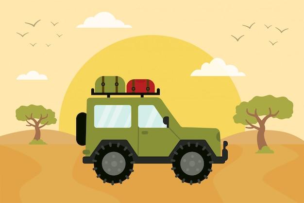 Grande veículo andando na estrada do safari. caminho para a áfrica.