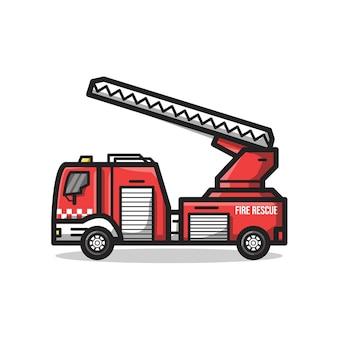 Grande veículo do departamento de resgate de incêndio com escada em uma ilustração de arte de linha minimalista exclusiva