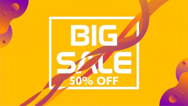 Grande venda 50% de desconto. banner com forma líquida