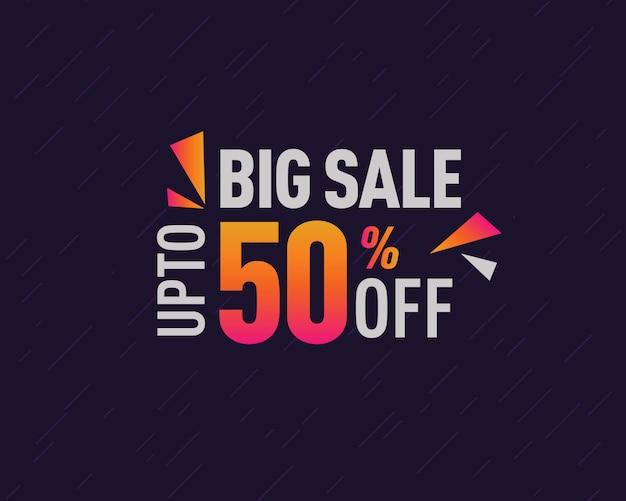 Grande venda 50% desconto oferta banner design