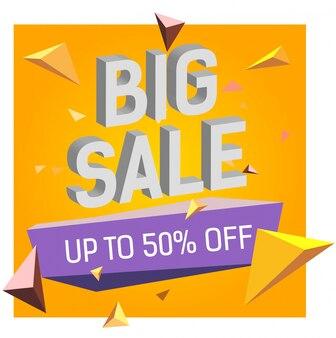 Grande venda até 50 por cento fora de letras.