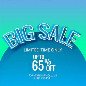 Grande venda azul modelo banner vector fundo ilustração Vetor Premium