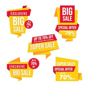 Grande venda banner cartão vector design
