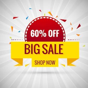 Grande venda banner design colorido ilustração