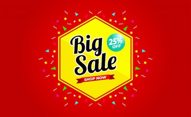 Grande venda com até 25% de desconto no banner. para promoções de vendas, banner, desconto.