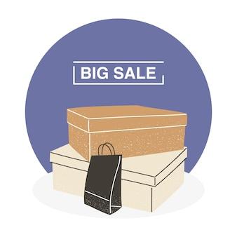 Grande venda com caixas de compras e design de sacola do tema de comércio e mercado. ilustração vetorial