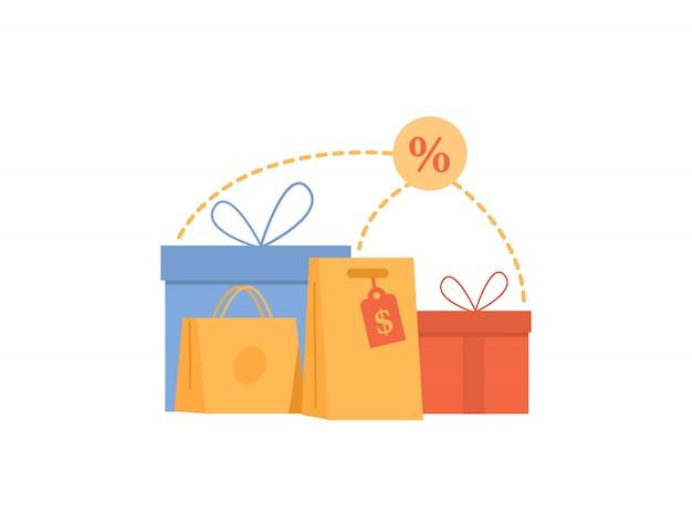 Grande venda com desconto sacola de compras e presentes. venda de sexta-feira negra.