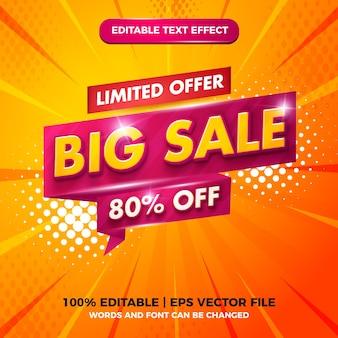 Grande venda com oferta limitada de texto editável e estilo de modelo 3d