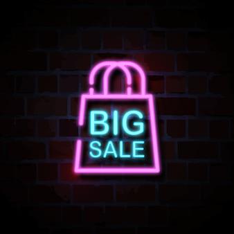 Grande venda com saco ícone néon estilo sinal ilustração