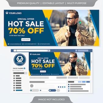 Grande venda de anúncios em banner de mídia social estilo premium