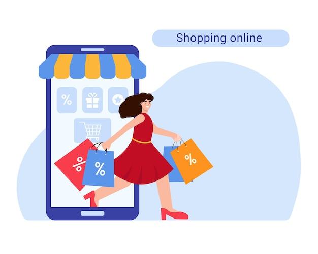 Grande venda de compras online ou conceito de sexta-feira negra smartphone e menina com sacolas de compras