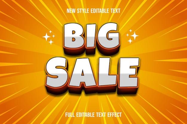 Grande venda de efeito de texto em gradiente branco e laranja
