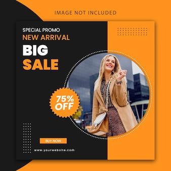 Grande venda de moda moderna, modelo de postagem em mídia social e design de banner de site