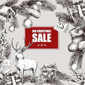 Grande venda de natal, ilustração vetorial vintage