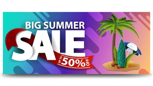 Grande venda de verão, banner horizontal de desconto web para o seu site