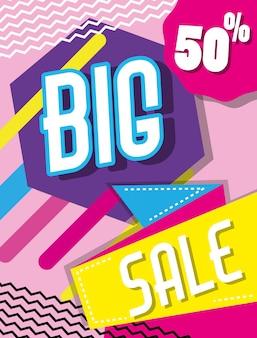 Grande venda descontos coloridos cartaz de compras