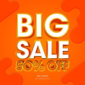 Grande venda efeito de texto 3d 50 de desconto