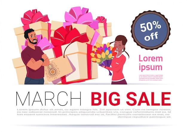 Grande venda em 8 de março banner modelo internacional mulheres dia desconto e promoção conceito