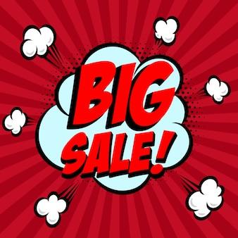 Grande venda!!! frase de estilo cômico sobre fundo sunburst. elemento para panfleto, cartaz. ilustração.