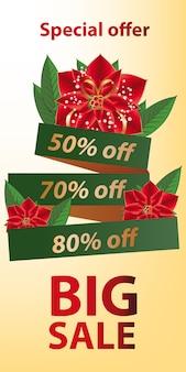 Grande venda oferta especial banner design. fita verde