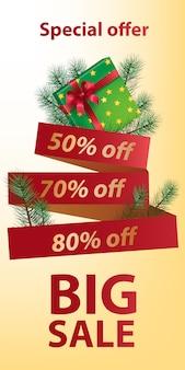 Grande venda oferta especial banner design. laço vermelho