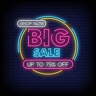Grande venda sinais de néon estilo texto