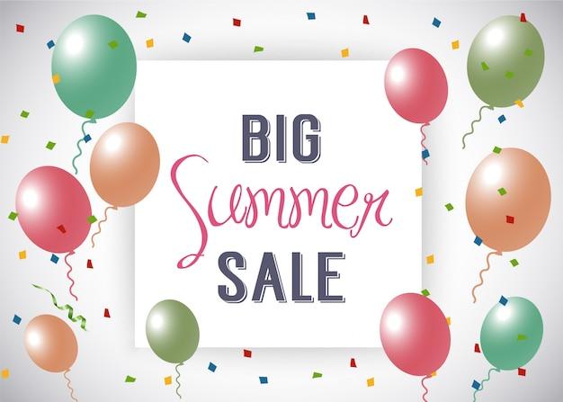 Grande, verão, venda, ballon, fundo